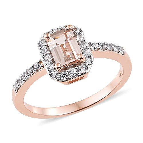 TJC Morganite, Cambodian Zircon Halo Ring for Women Rose Gold Plated...