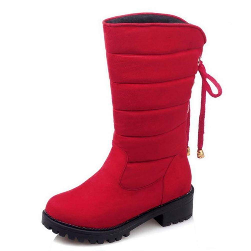 Red T-JULY Keep Warm Snow Boots Fashion Thick Fur Platform Mid Calf Winter Boots for Women shoes Footwear Size 30-52