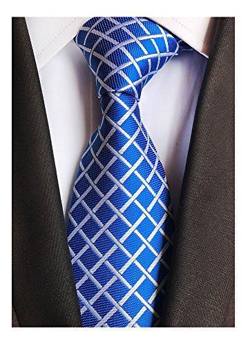 Men's Classic Royal Blue Plaid Tie Jacquard Woven Silk Tie Necktie + Gift Box