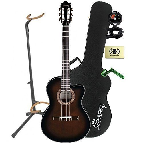 Ibanez GA35TCE Thinline Classical Acoustic-Electric Guitar in Dark Violin Sunburst Finish With Case, Mini Stand, Tuner, Pegwinders, and Polishing Cloth