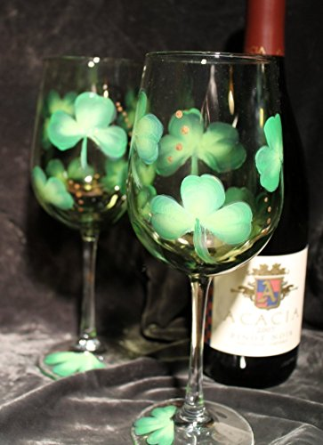 Clover Glass - Hand Painted Irish Wine Glasses - Three-leaf clovers on Olive tinted glasses (Set of 2)