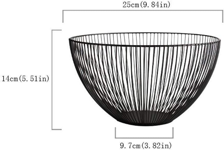 estilo geom/étrico para almacenamiento y decoraci/ón Redondo color negro Teabelle Frutero de alambre de metal