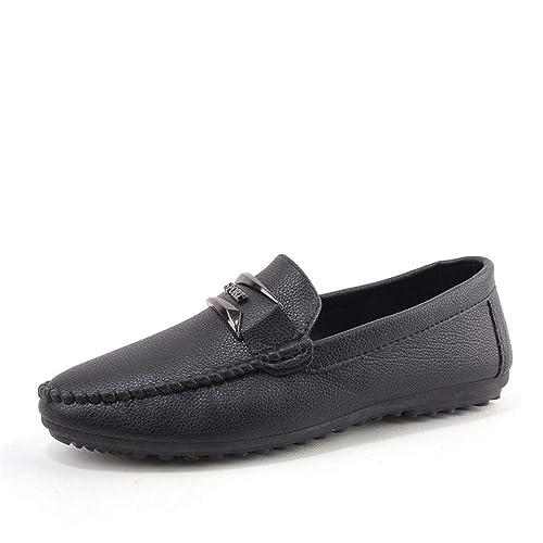 Mocasines de Barco para Hombre Hombre Que Conduce Loafer Insouciant Leather Soft Sole Transpirable Slothful Person