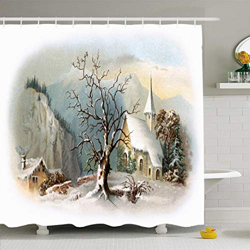 Ahawoso Shower Curtain 72x72 Inches Vignetted Winter Snowy Chapel Scene Early Vintage Historic Christmas Ives Currier Antique Church Old Waterproof Polyester Fabric Set with Hooks