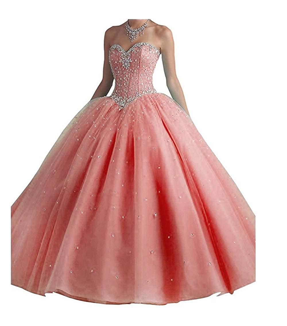 Coral Jerald Norton Ltd Women's Sweetheart Beaded Ball Gown Quinceanera Party Dress with Crystal Sequins