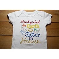 Embroidered Bodysuit Handpicked for Earth by my Sister in Heaven Baby Shower Gift Hand Picked Bodysuit Blue