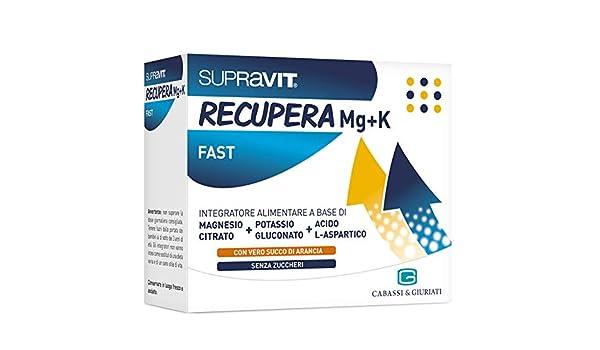 Amazon.com: CABASSI E GIURATI SUPRAVIT Recover Fast Mg+K Magnesium Potassium 20 Sachet: Health & Personal Care