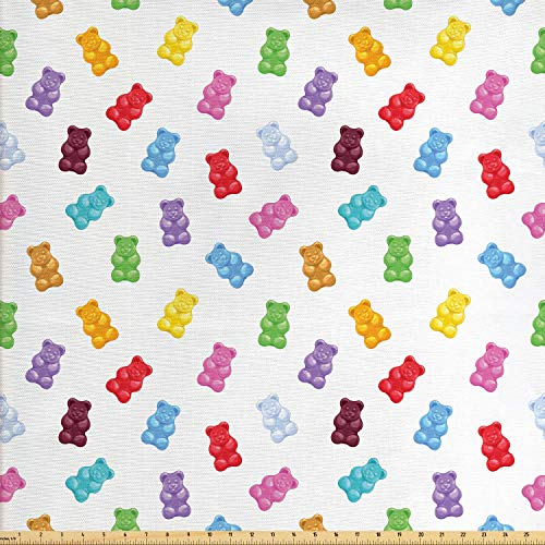 Ambesonne Dessert Fabric by The Yard, Vibrant Colored Gummy Bears Candies Delicious Jelly Sugary Snack Chewy Sweet Taste, Decorative Fabric for Upholstery and Home Accents, Multicolor