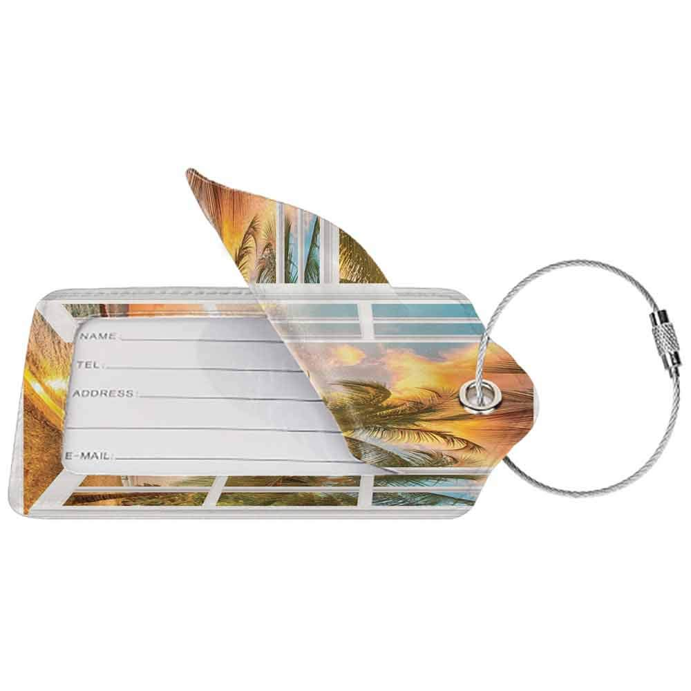 Durable luggage tag Personalized Sea Ocean Palm Tree Sunset Scenery Scenic Wooden Windows of Art Pictures Natural Landscape Unisex Brown White Yellow Blue Green W2.7 x L4.6