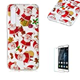 For Huawei P20 Lite Case [with Free Screen Protector],Funyee Creative Christmas Series Ultra Thin Transparent Soft TPU Silicone Case Anti Scratch Durable Shell Smart Case For Huawei P20 Lite,Santa Claus
