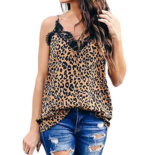 NCCIYAZ Womens Camisole Lace Leopard Snakeskin Love Floral Pattern Print Sleeveless V-Neck Ladies Party Vest Tank(L(8),Brown-Leopard) (Fender Passport Cover)