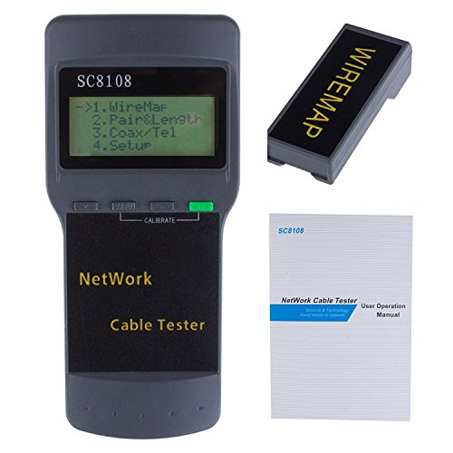 Cable Tester Meter (Powstro Network LAN Length Cable Tester Meter 5E 6E SC8108 CAT5 RJ45 GRAY)