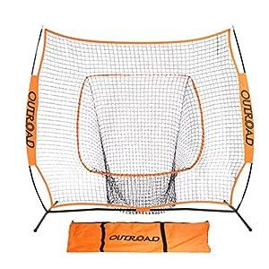 OUTROAD Softball & Baseball Practice Net 7 x 7 – Portable Practice Net w/ Bow Frame