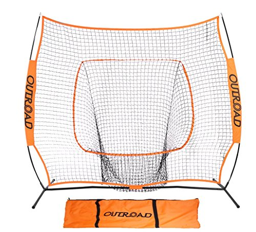 OUTROAD Softball & Baseball Practice Net 7 x 7 – Portable Practice Net w/ Bow Frame (Nets Youth)