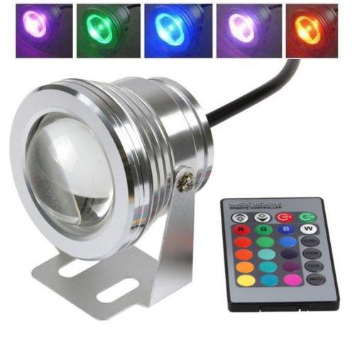 LTC ® 10W RGB Unterwasser LED Flutlicht Wasserdicht Gartenlampe Außenstrahler 12V DC für Aquarium Fountain Pool Brunnen mit Fernbedienung