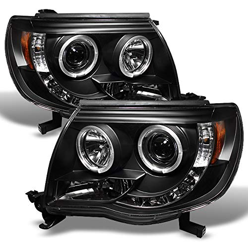 Led Black Bezel - For Toyota Tacoma Pickup Black Bezel Dual Halo Ring Design Projector LED Replacement Headlights Lamps