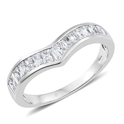 J FRANCIS Women Platinum Plated Sterling Silver Made with Swarovski® Zirconia Halo Ring Size M iQYBpmyuo8