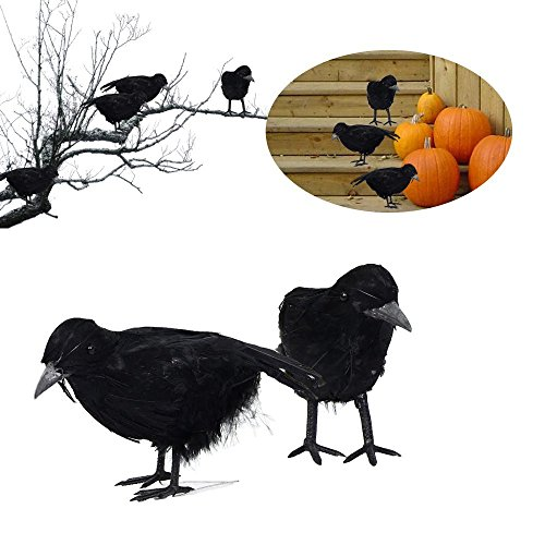 Crow Bird Halloween Costume (2 Realistic Crow Halloween Black Feathered Bird Decorations)