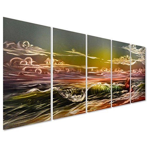 Pure Art The Eternal Sea - Sunset Beach Metal Wall Art Decor - Set of 5 Large Nautical Panels for Living Room or Bedroom - 64