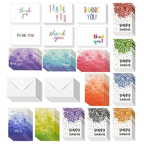144-Pack Happy Birthday Cards and Thank You Cards – Includes 6 Confetti Designs, 6 Rainbow Fonts and Ombre Designs, Bulk Box Set Variety Pack with Envelopes Included, 4 x 6 Inches