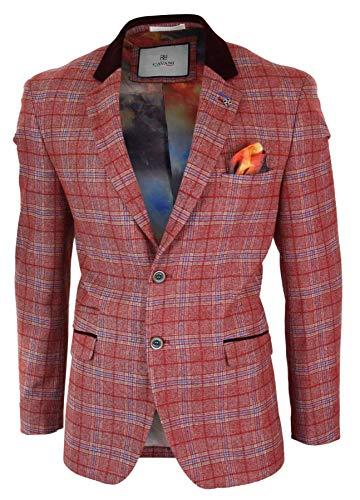Style Ou Décontracté Veste À Pour Homme Mariages Blazer Vintage Rouge Carreaux Fêtes Formel Tendance Tweed U77qBgRxX