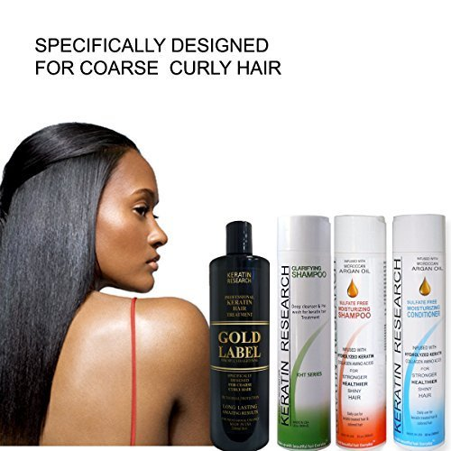Professional Keratin Blowout Treatment LARGE SET Specifically Designed for Coarse Curly Black, african, Dominican and Brazilian Hair types Super Enhanced Formula by Gold Keratin Treatment Blowout