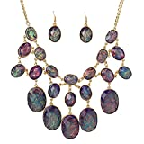 SDLM Purple Stone Bubble Beads Bib Statement Necklace Chunky Pendany Fashion Jewelry Set