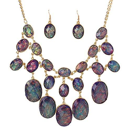 Honora Collection (SDLM Purple Stone Bubble Beads Bib Statement Necklace Chunky Pendany Fashion Jewelry Set)