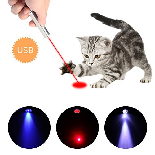 JJYPet Rechargeable Cat Laser Pointer,3 in 1 Red Laser Pointer,Interactive Cat Dog Training ()