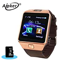 Aipker 1.56-Inch Bluetooth Smartwatch with 16GB TF Card for Android Smart watch Phones - Golden