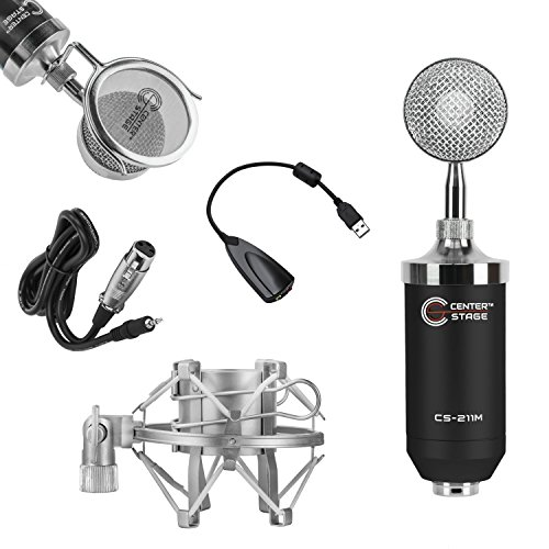 CenterStage CS-211 Studio Broadcast / Podcast & Recording Condenser Vocal Microphone Bundle Kit with Pop Filter + Shockmount + XLR to 3.5mm Cable + USB Soundcard (Nady Cable Microphone Cable)