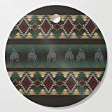 Society6 Wooden Cutting Board, Round, southwest stripe with horses by designlunatic
