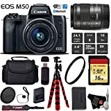 Cheap Canon EOS M50 Mirrorless Digital Camera with 15-45mm Lens + Flexible Tripod + UV Protection Filter + Professional Case + Card Reader – International Version