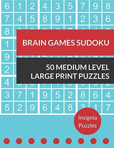 Brain Games Sudoku 50 Medium Level Large Print Puzzles: One Puzzle Per Page