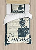Ambesonne Movie Theater Twin Size Duvet Cover Set, Grunge Poster Design with Strip Frame Cinema Lettering and Projection, Decorative 2 Piece Bedding Set with 1 Pillow Sham, Slate Blue Beige