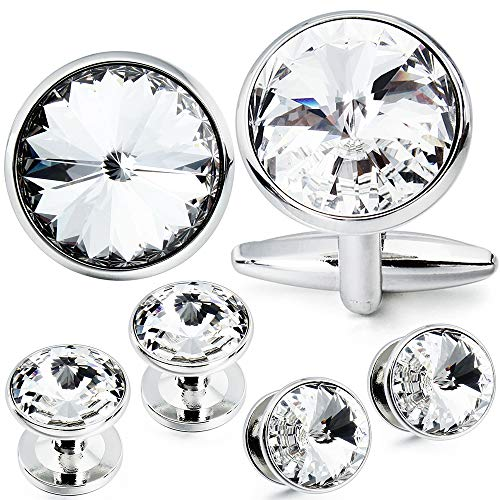 HAWSON Cufflink and Studs Tuxedo Set Silver Color with Swarovski Crystals in Jet Hematite, Dark Blue, Crystal Grey,Purple, Green (Crystal)