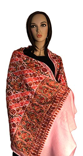 Pashmina Kashmiri Shawl - Scarf Made of Wool and heavy Embroidery a Very Fancy Shawl to own