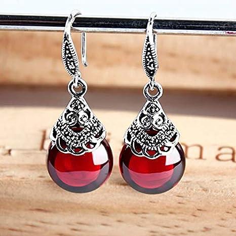 NOLOGO Gxbld-yy Retro 100% 925 Redondo Rojo Granate Pendientes de Gota for Las Mujeres la Piedra Preciosa Natural de Ruby joyería Fina Mejores Regalos (Color : Rojo)