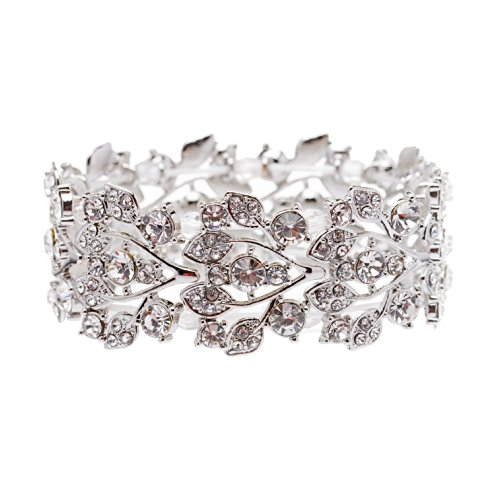 ACCESSORIESFOREVER Bridal Jewelry Crystal Rhinestone Floral Leaf Vine Stretch Bracelet Silver Clear