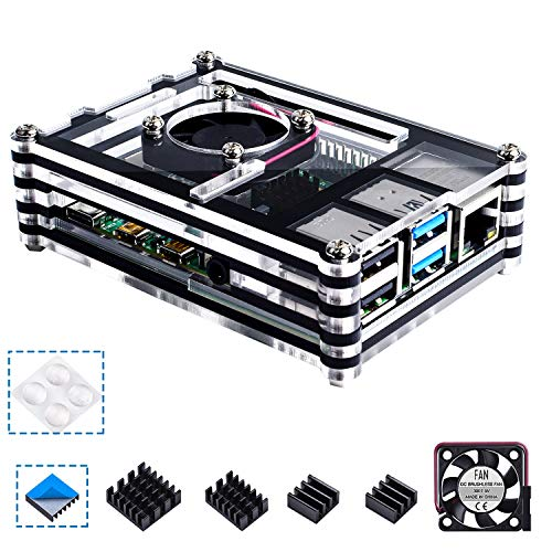 Smraza Case for Raspberry Pi 4 B, Raspberry Pi 4 Case with Cooling Fan, 4PCS Heatsinks for Raspberry Pi 4 Model B (RPI 4 Board Not Included) - Black and Clear