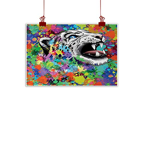 Artwork Office Home Decoration Psychedelic,Roaring Leopard in Watercolors