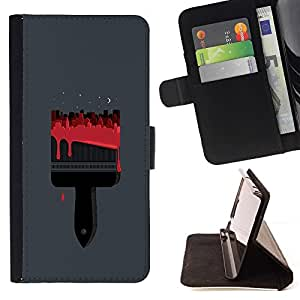 Momo Phone Case / Flip Funda de Cuero Case Cover - Cepillo Rojo Sangre Pintor Gris - Sony Xperia M4 Aqua