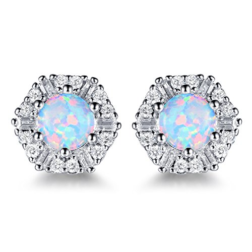 18K White Gold Plated Round Opal Stud Earrings,Hexagon Cluster Cubic Zircon Simulated Diamond Earing Party Jewelry -  CERSLIMO, B07DMGTL3W_US