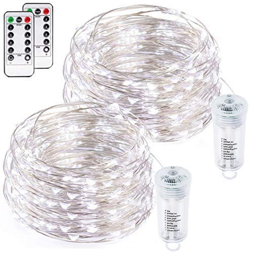 buways Fairy Lights, 2-Pack Battery Operated Waterproof Cool White 75 LED Fairy String Lights, 26.4ft Sliver Wire Light with Remote Control for Christmas Party Weeding Garden Home Decoration