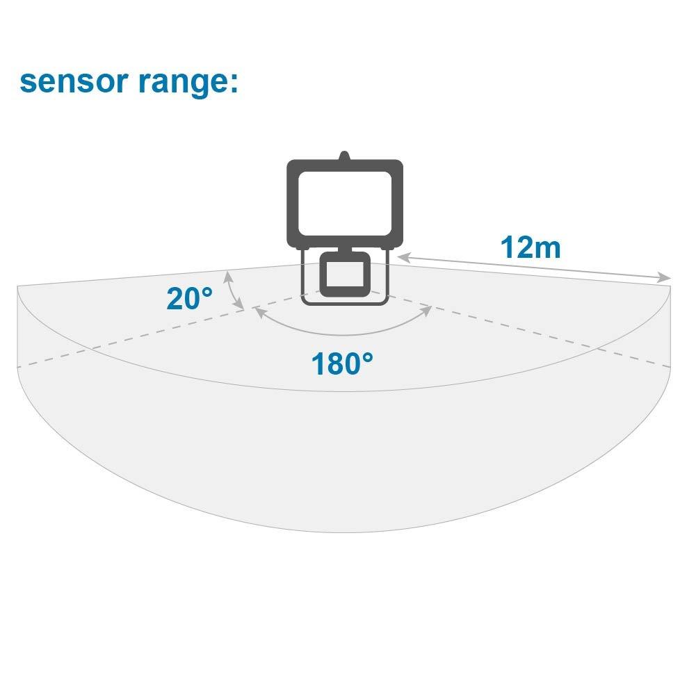 Proyector hal/ógeno con sensor de movimiento IP44, 8500 l/úmenes, 400 W color negro Electraline 63006