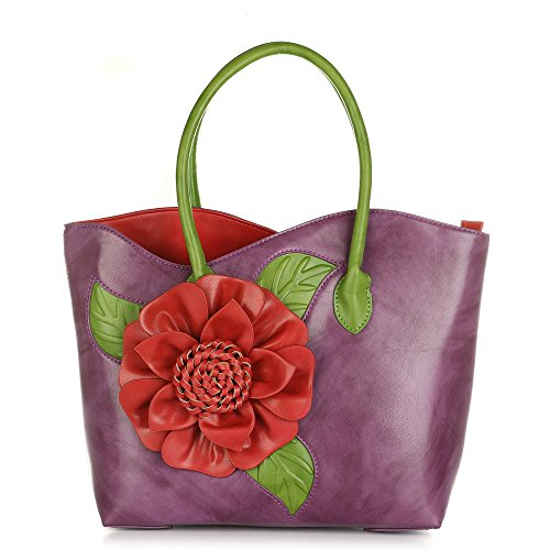 - Women 3D Flower Seris PU Leather Tote Bag By Vanillachocolate (Large, Purple)