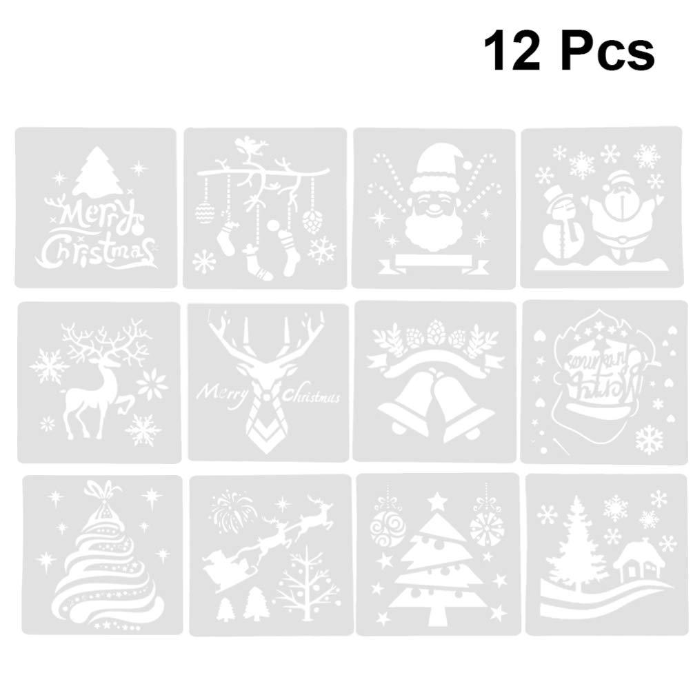 NUOBESTY 8 piezas plantilla de plantillas de navidad artesan/ía de pl/ástico reutilizable de navidad para pulverizaci/ón de pintura de dibujo de arte