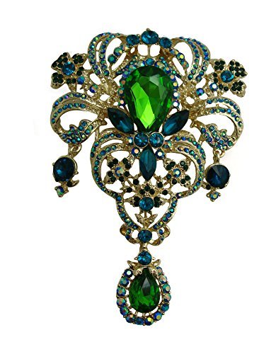 yle Flower Drop Brooch Pin Rhinestone Crystal Pendant (Green) ()
