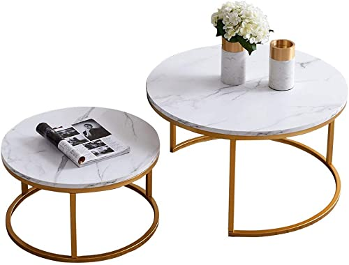 HOMMOO Round 31.5″ Nesting Coffee Table Set of 2 Modern Accent Coffee Table
