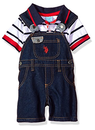 Multi Striped Polo Shirt - U.S. Polo Assn. Baby Boys T-Shirt and Short Set, Striped Knit Top Denim Coverall Multi Plaid, 18M